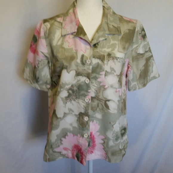 36cb4fac Kim Rogers Tops | Green Pink Floral Print Shirt Size S | Poshmark